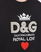 COTTON SWEATSHIRT WITH D&G PRINT AND CRYSTALS