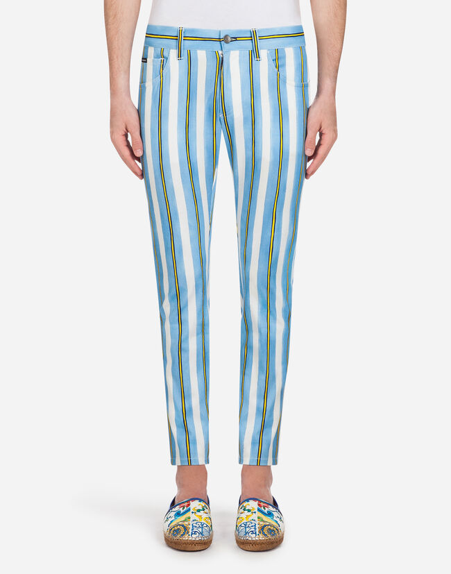 FIVE-POCKET PANTS IN PRINTED STRETCH COTTON
