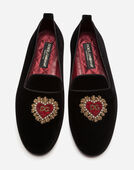 Dolce & Gabbana VELVET LOAFERS WITH HEART EMBROIDERY