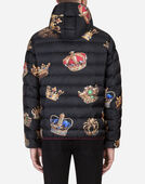 Dolce & Gabbana PADDED JACKET WITH HOOD IN PRINTED NYLON