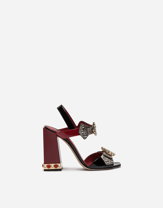 SANDAL IN AYERS SNAKESKIN AND PATENT LEATHER WITH APPLIQUÉS AND JEWEL HEEL
