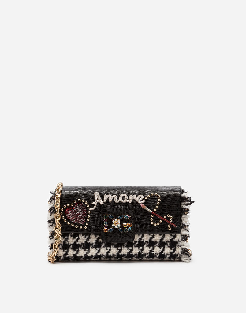 Dolce & Gabbana DG MILLENNIALS SHOULDER BAG IN TWO-TONE TWEED WITH PATCHES