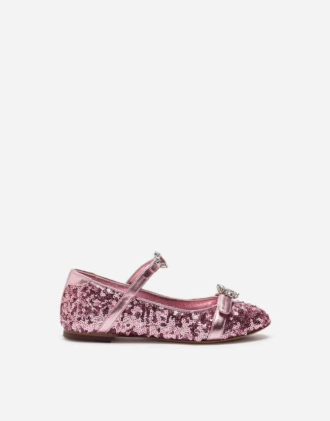 SEQUINED BALLET FLATS WITH APPLIQUÉ