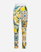 Dolce & Gabbana MAJOLICA-PRINT SILK LEGGINGS
