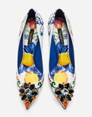 Dolce&Gabbana PRINTED PATENT LEATHER PUMPS WITH BROOCH DETAIL