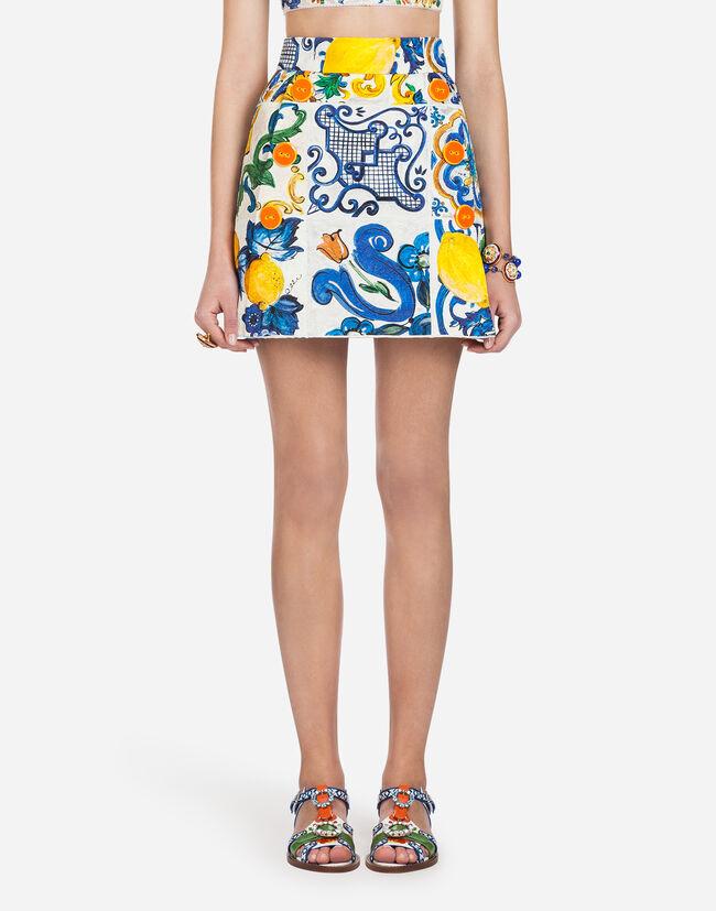 Dolce&Gabbana MAJOLICA-PRINT BROCADE SKIRT