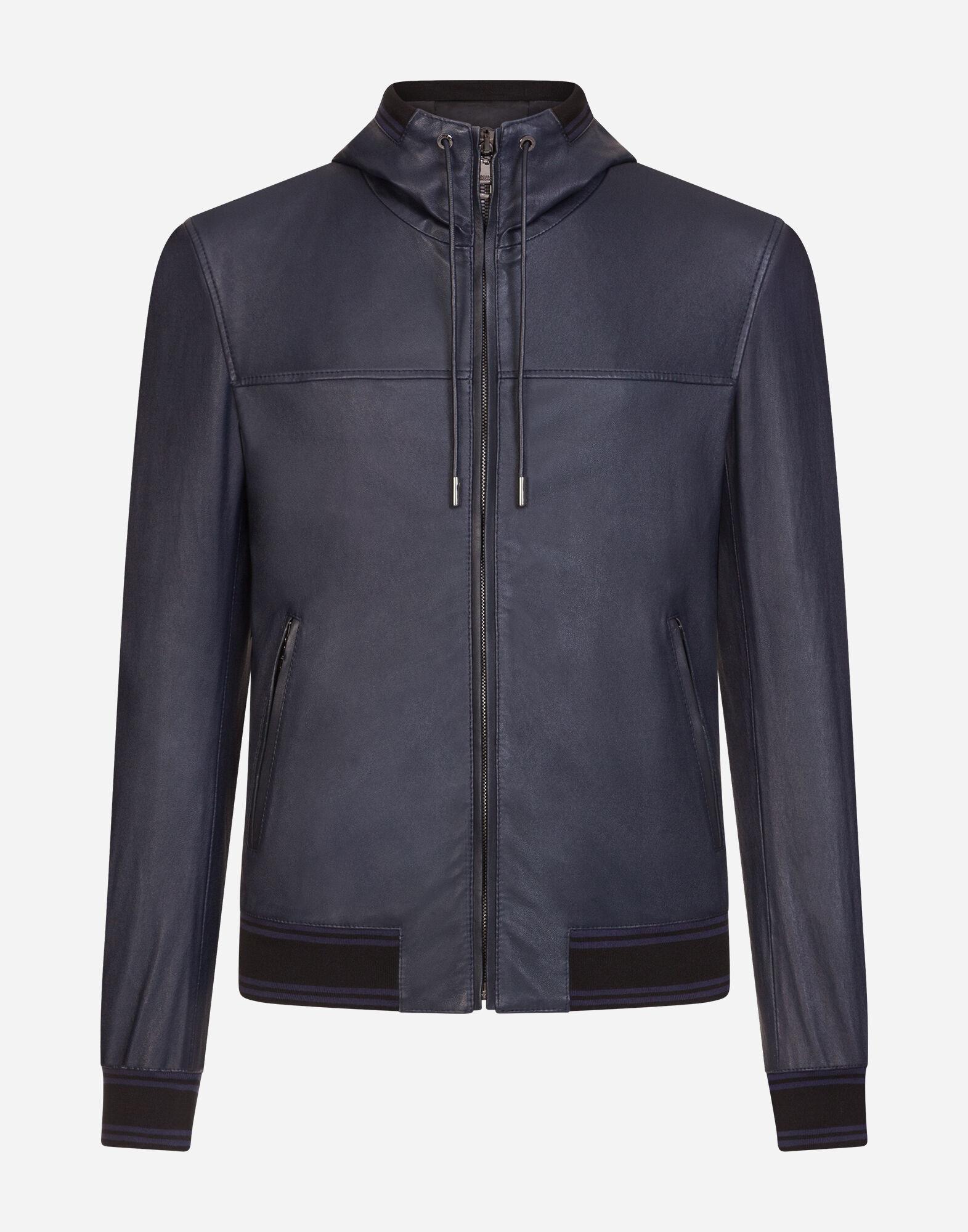 Vestes et Blousons en cuir Homme | Dolce&Gabbana VESTE À CAPUCHE EN CUIR