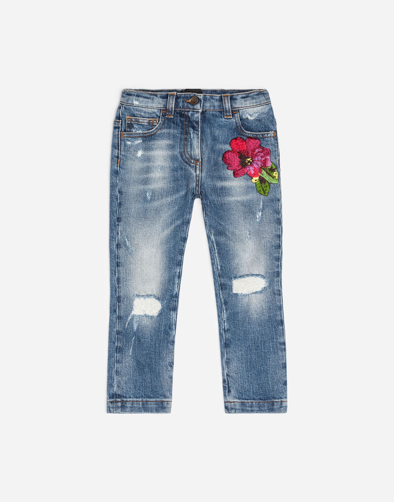 STRETCH JEANS WITH EMBROIDERY