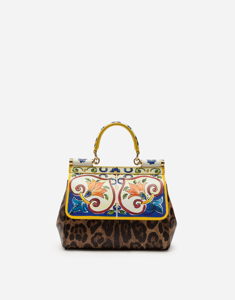 SMALL SICILY BAG IN PRINTED DAUPHINE CALFSKIN