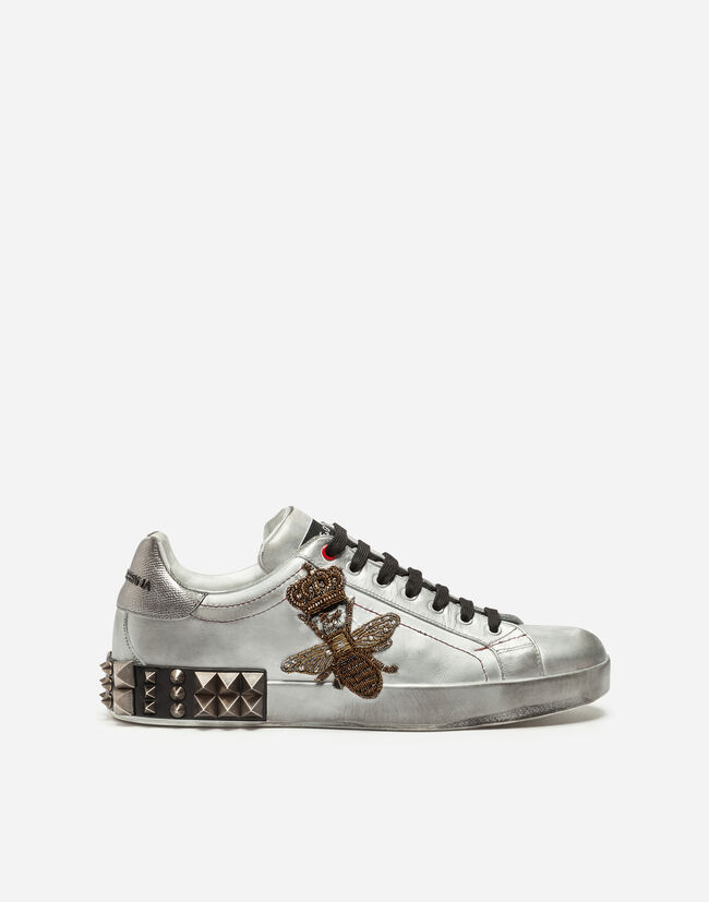 PORTOFINO SNEAKERS IN METALLIC CALFSKIN WITH EMBROIDERY