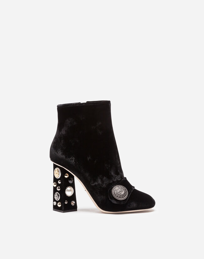 8544ab4cf58317 Velvet Ankle Boots With Bejeweled Heels - Women
