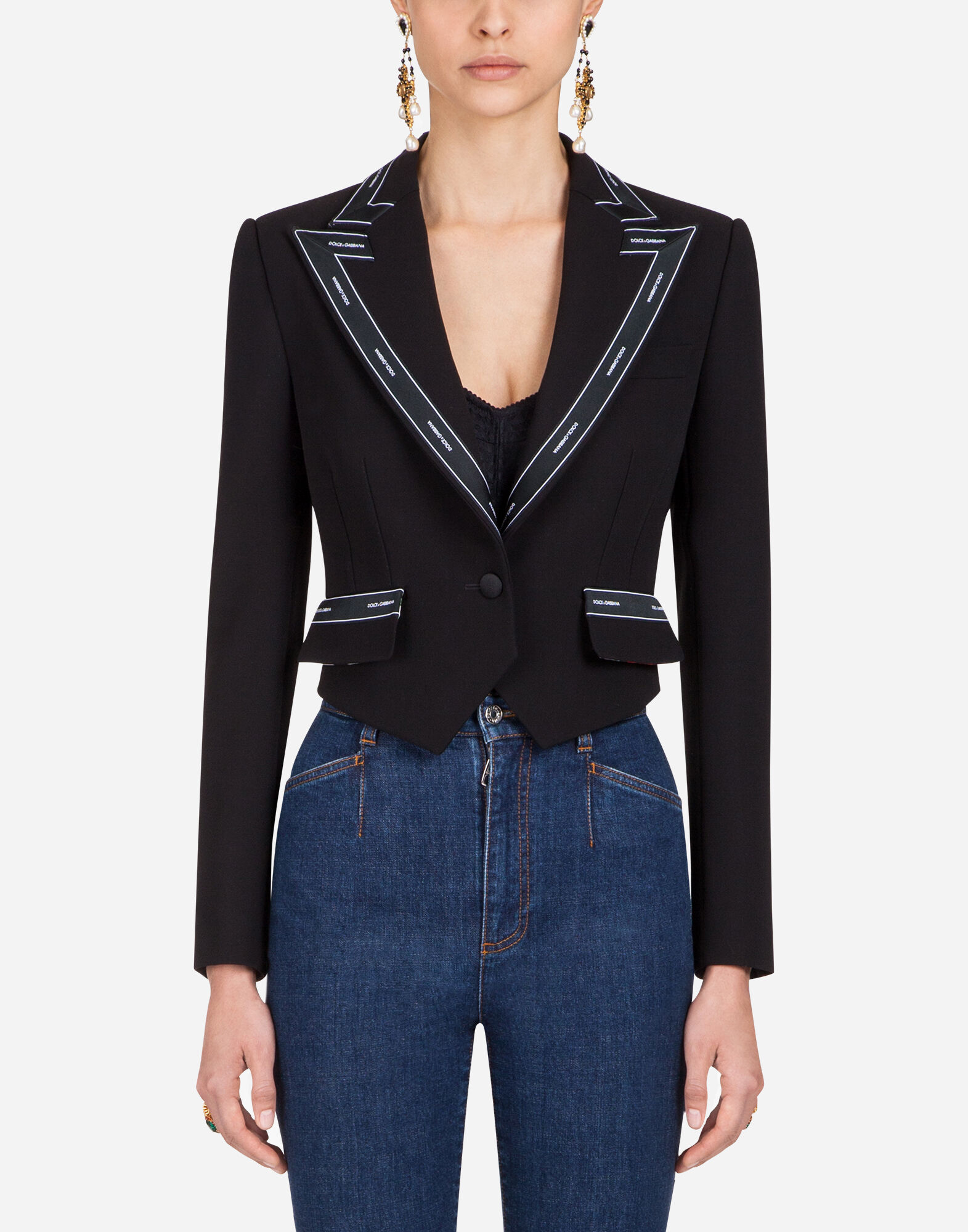 SHORT SINGLE-BREASTED GABARDINE BLAZER