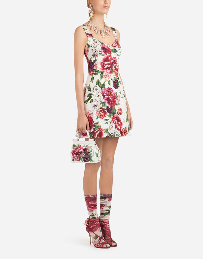 PEONY-PRINT BROCADE DRESS
