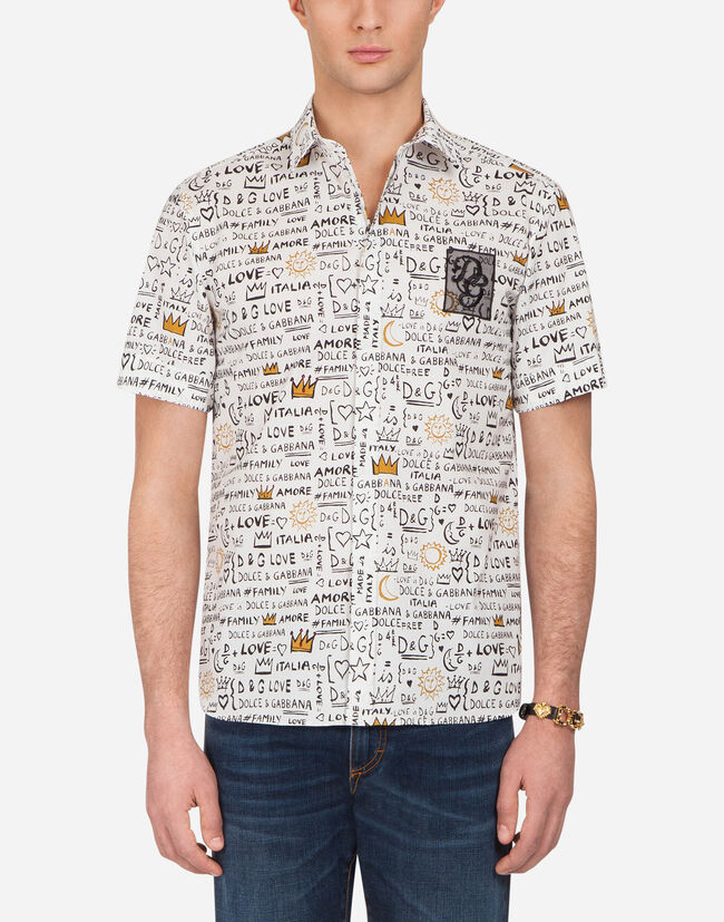 SHORT-SLEEVED SHIRT IN PRINTED POPLIN