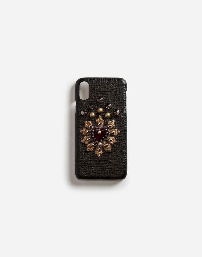 Dolce & Gabbana CALFSKIN IPHONE X COVER WITH HEART PATCH