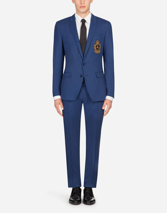 Dolce&Gabbana MARTINI SUIT IN STRETCH WOOL WITH PATCH