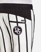 PRINTED STRETCH COTTON JOGGING SHORTS WITH PATCH