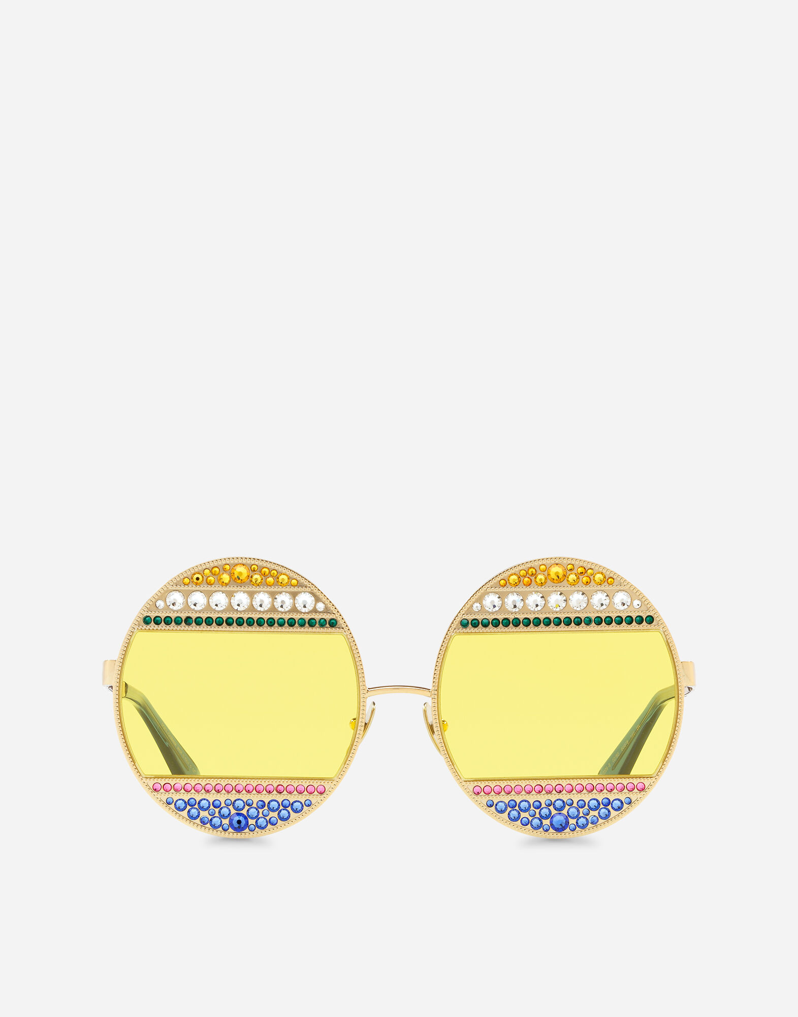 Oval Metal Sunglasses With Crystals in Shiny Gold & Multicolor