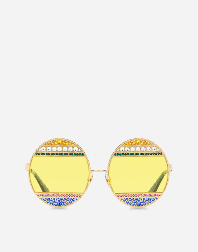 OVAL METAL SUNGLASSES WITH CRYSTALS