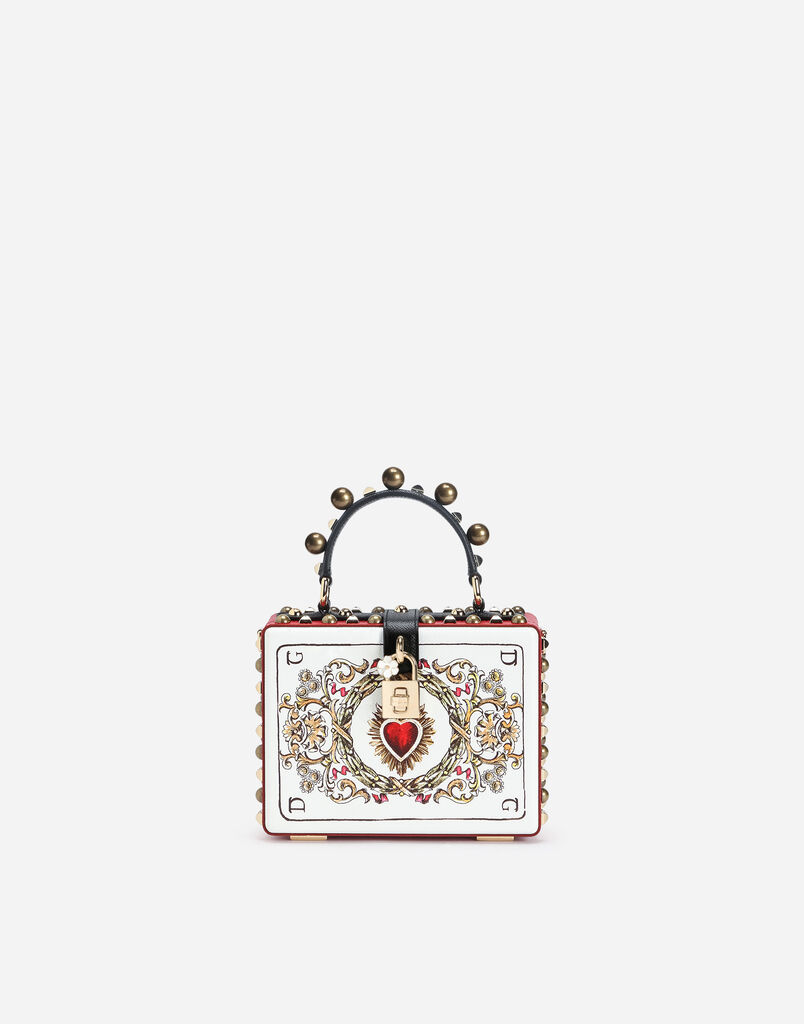 DOLCE BOX BAG IN PRINTED DAUPHINE CALFSKIN WITH APPLIQUÉS