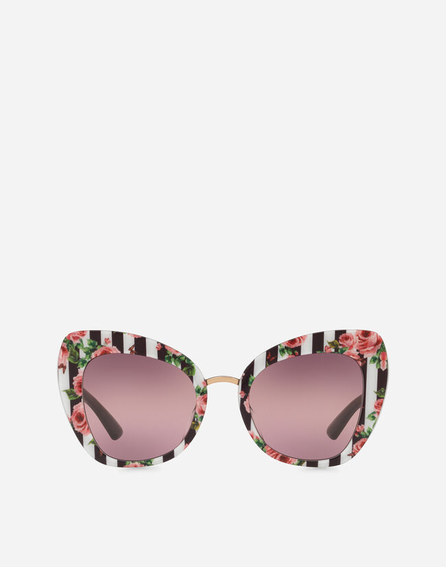 BUTTERFLY SUNGLASSES WITH STRIPE AND ROSE PRINT