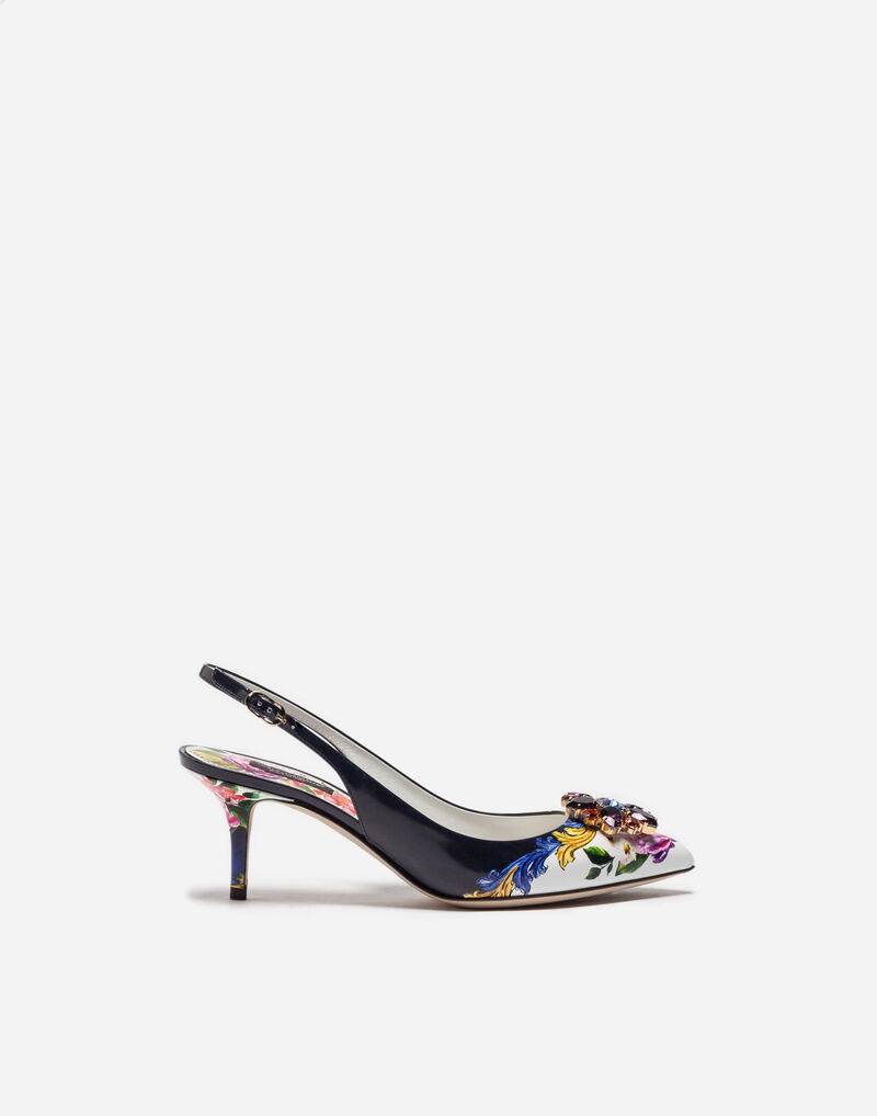PRINTED LEATHER SLINGBACK PUMPS WITH BEJEWELED APPLIQUÉ
