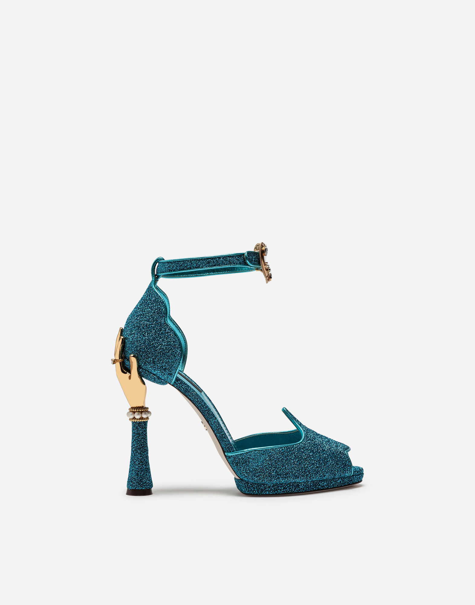 Sandal In Soft Lurex And Mordoré Nappa Leather With Sculpted Heel, Turquoise