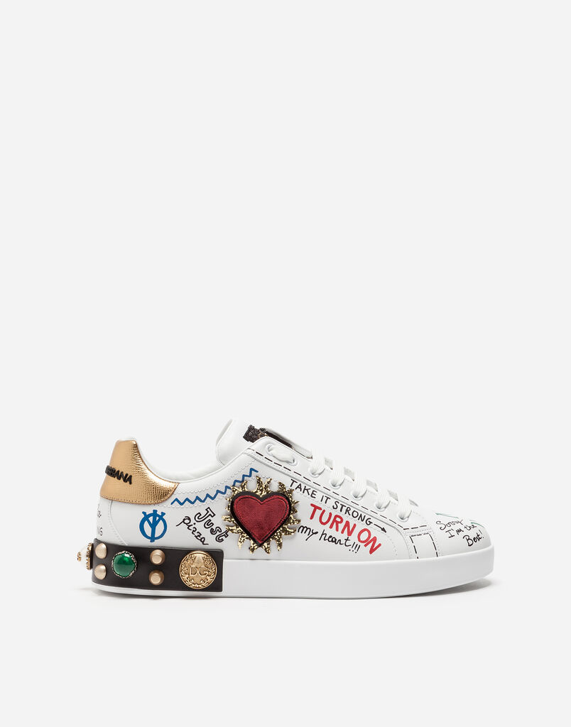 SNEAKERS IN LEATHER WITH APPLICATION