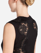 SLEEVELESS SWEATER WITH ENCRUSTED LACE INSETS