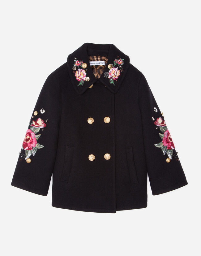 DOUBLE-BREASTED WOOL COAT WITH EMBROIDERY