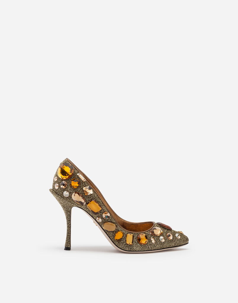 Dolce Gabbana Pumps In Soft Lurex With Embroidery
