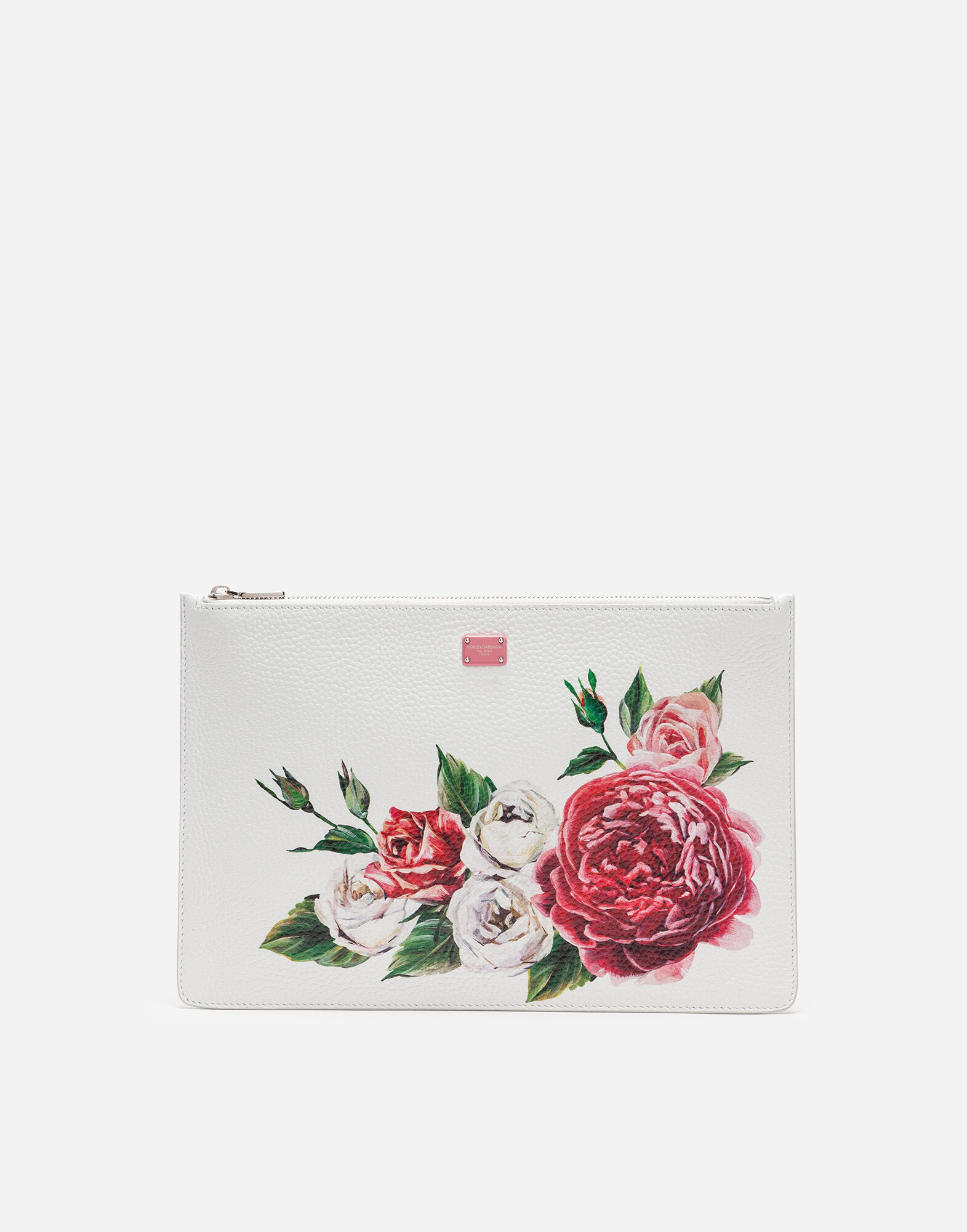 Peony-Print Tumbled Calfskin Pouch in Cream