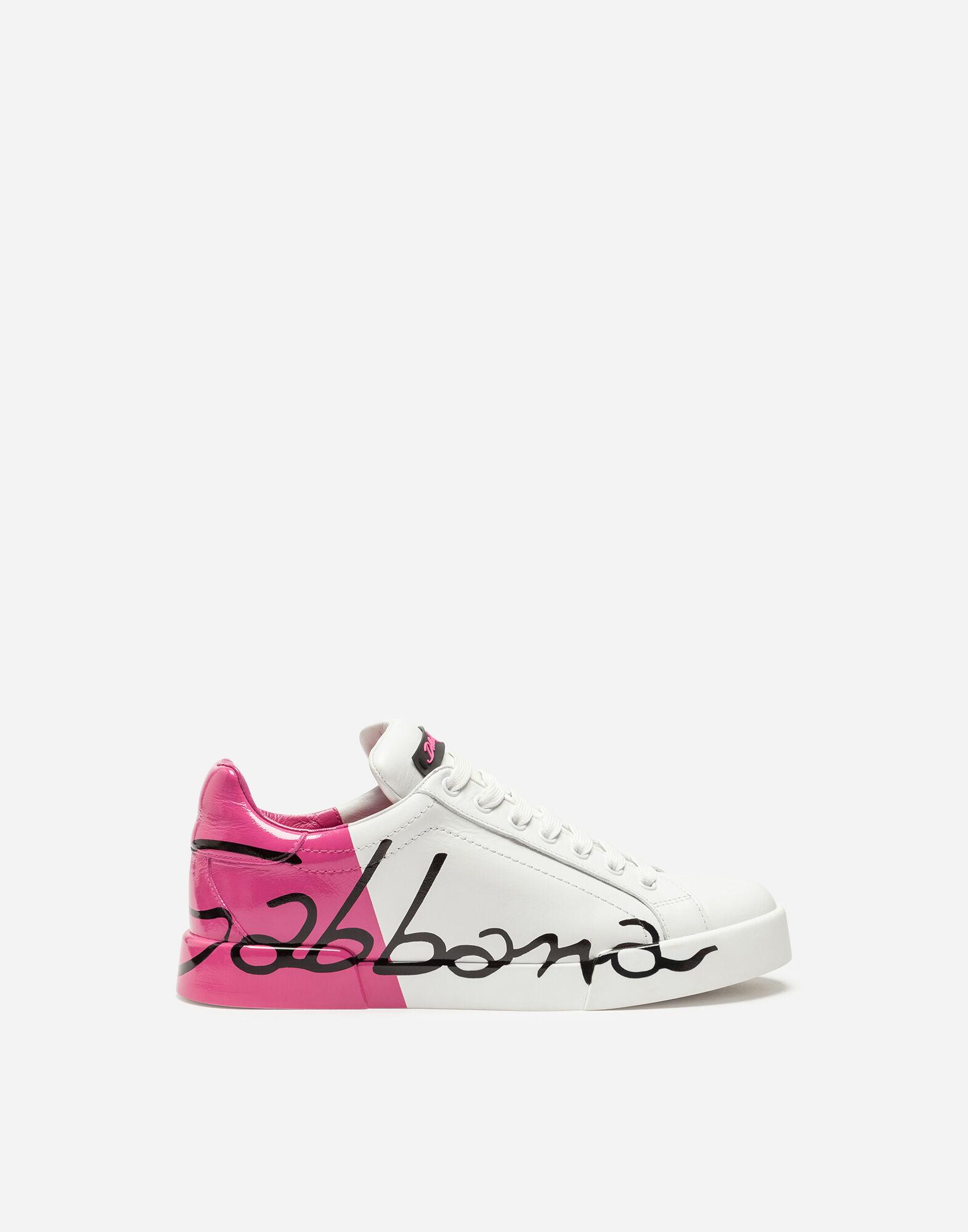 Leather Portofino Sneakers With Metallic Heel, White