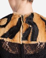 LACE DRESS WITH FAUX FUR PATCH