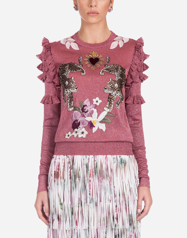 LUREX SWEATER WITH EMBROIDERY AND PATCH
