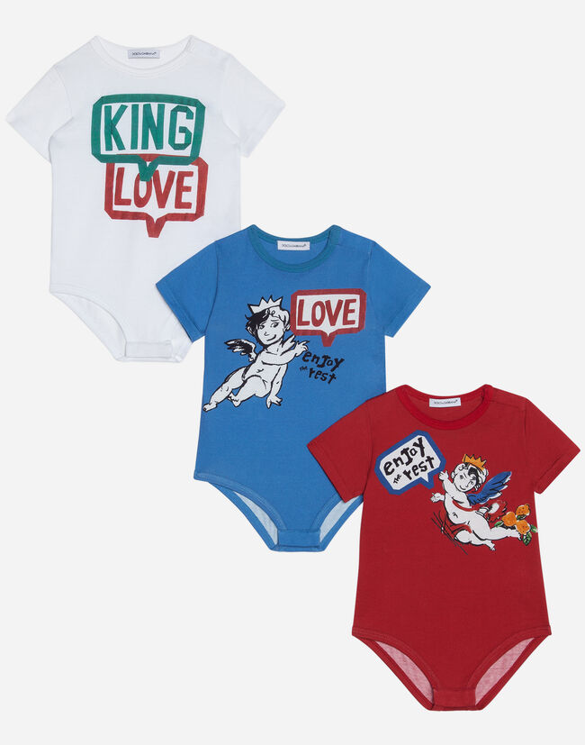 SET OF THREE PRINTED COTTON BABYGROWS