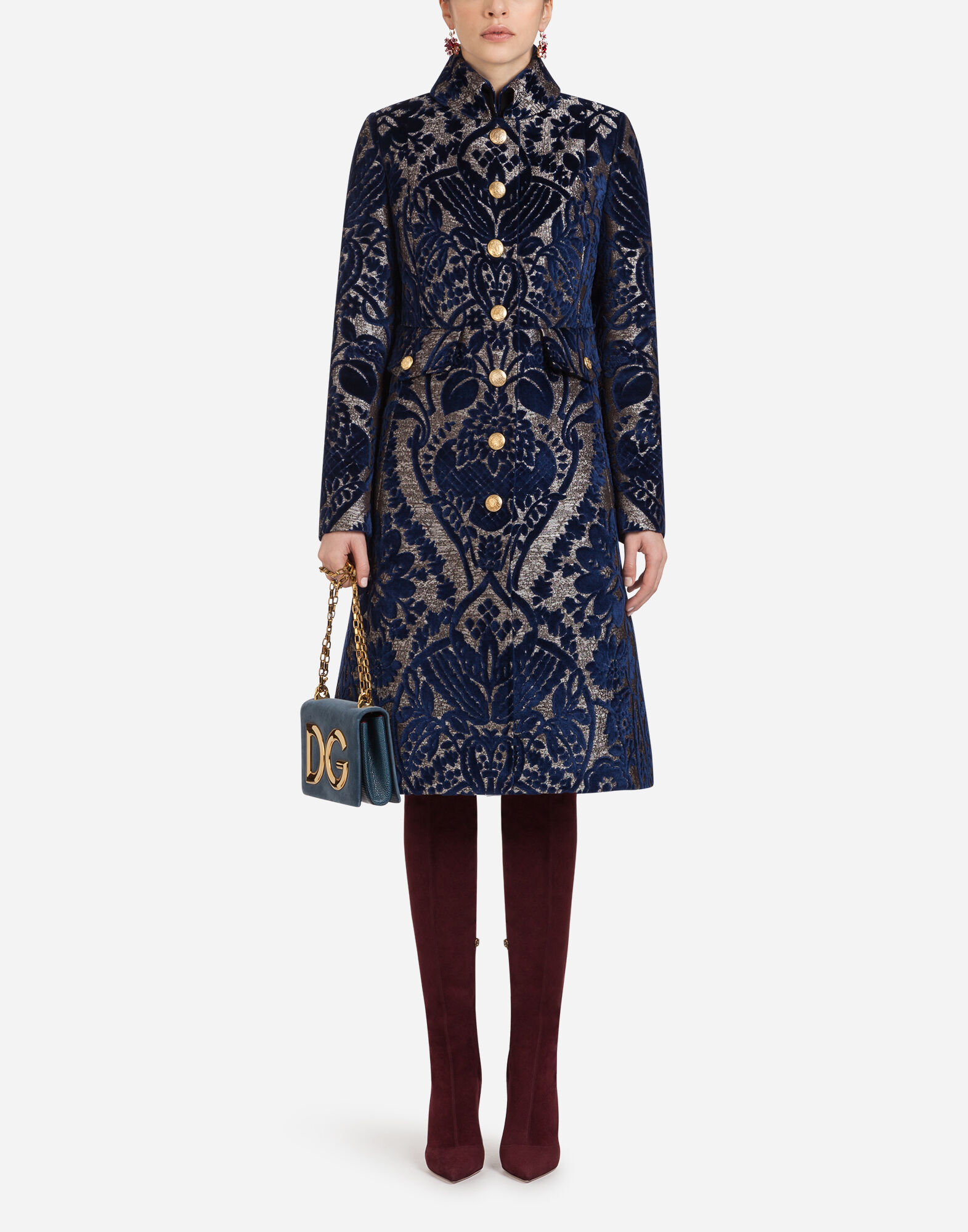 Single-Breasted Button-Front Velvet Damask Jacquard Coat in Multi-Colored