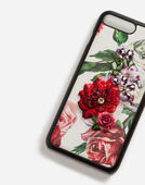 Dolce&Gabbana IPHONE 7 PLUS COVER WITH PRINTED DAUPHINE CALFSKIN DETAIL AND EMBROIDERY