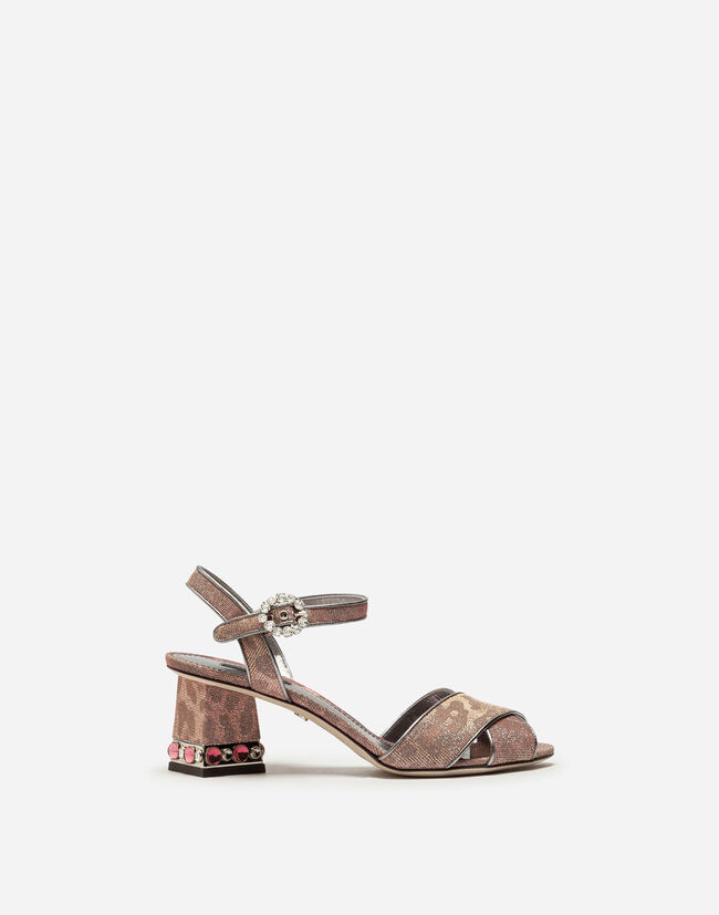 SANDALS IN GLITTERY LEOPARD-PRINT WITH BEJEWELED HEEL