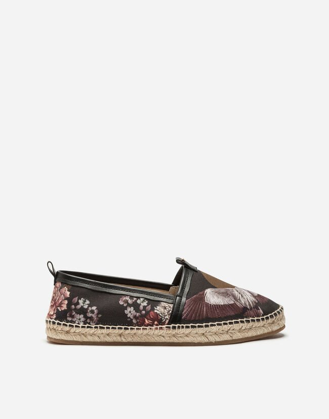 ESPADRILLES IN PRINTED CANVAS AND CALFSKIN