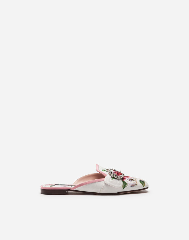 PRINTED CHARMEUSE SLIPPERS WITH BEJEWELED BUCKLE