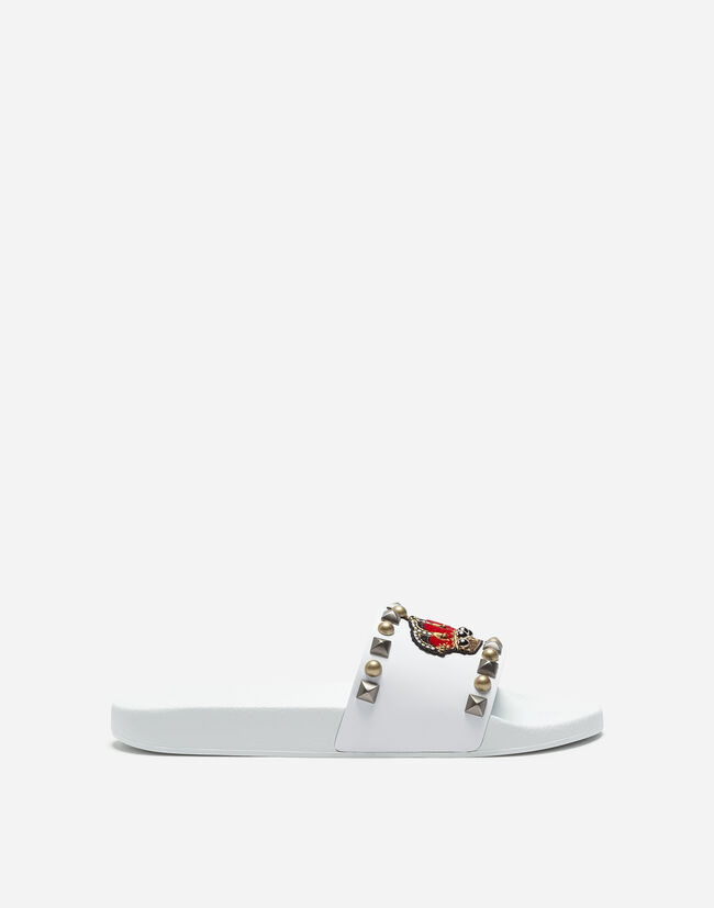 Dolce&Gabbana RUBBER AND CALFSKIN SLIDERS WITH DECORATIVE DETAILS