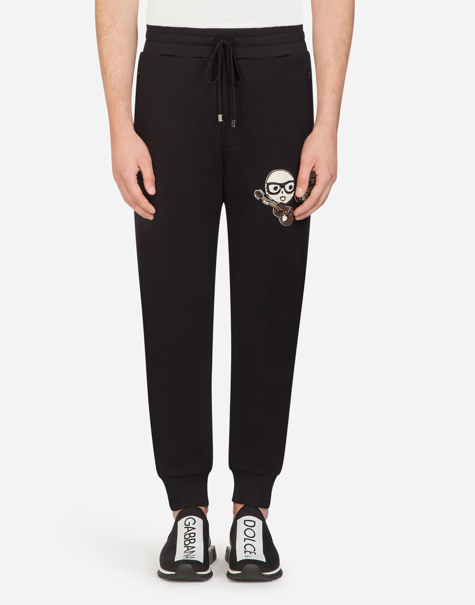 COTTON JOGGING PANTS WITH DESIGNERS' PATCHES from DOLCE & GABBANA