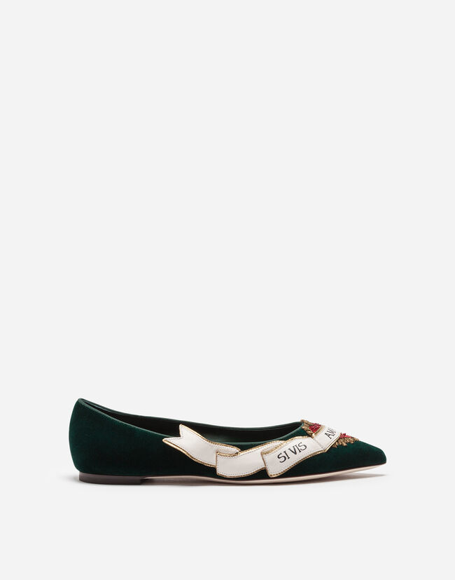 Dolce & Gabbana BALLET FLATS IN VELVET WITH EMBROIDERY