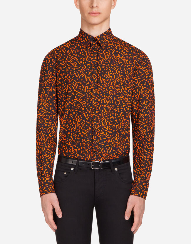 GOLD FIT SHIRT IN PRINTED COTTON