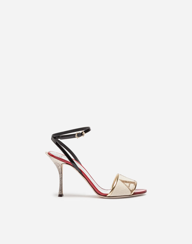 SANDAL TRIMMED IN PATENT LEATHER AND AYERS SNAKESKIN
