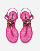 Dolce&Gabbana RUBBER FLIP-FLOP SANDAL AND PATENT WITH BROCADE