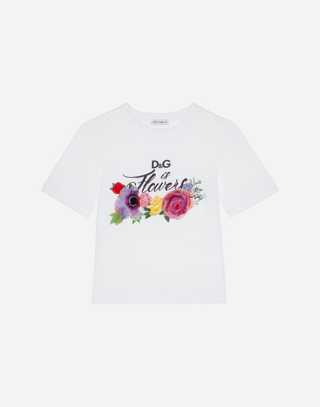 c9c56fb47 Girls' T-Shirts and Sweatshirts | Dolce&Gabbana - T-SHIRT IN COTTON WITH  PRINT AND DECORATIVE FLOWERS