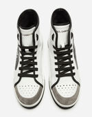HIGH TOP ROMA SNEAKERS IN COATED CANVAS AND CALFSKIN