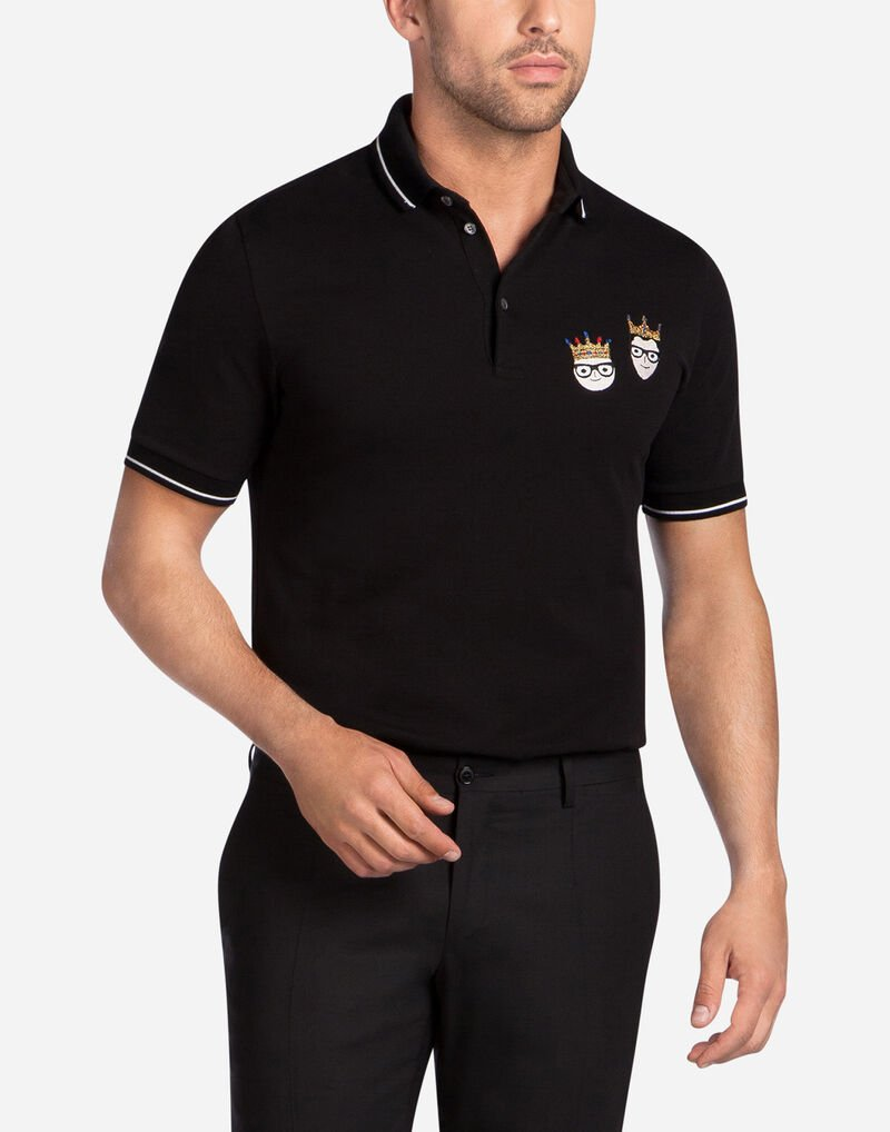 COTTON POLO WITH DESIGNER PATCHES